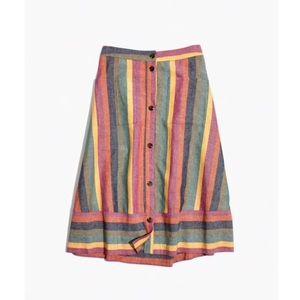 BNWT Madewell Rainbow Stripe Midi Skirt